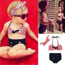 Топы в полоску для маленьких девочек, комплект бикини из 2 предметов+ повязка на голову, купальный костюм, пляжный костюм