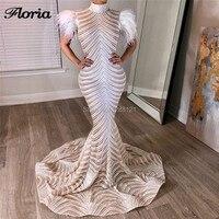 White Feathers Long Evening Dresses Vestidos Couture New Shiny Sequins Celebrity Prom Dress 2019 Arabic Dubai Kaftan Party Gowns