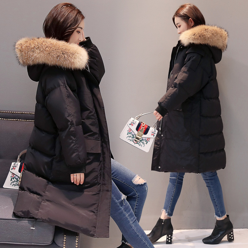 2019 г. Новая зимняя Корейская легкая кодовая длинная одежда Seta Lead с хлопковой подкладкой даже хлопковая куртка с капюшоном Свободное пальто - 5