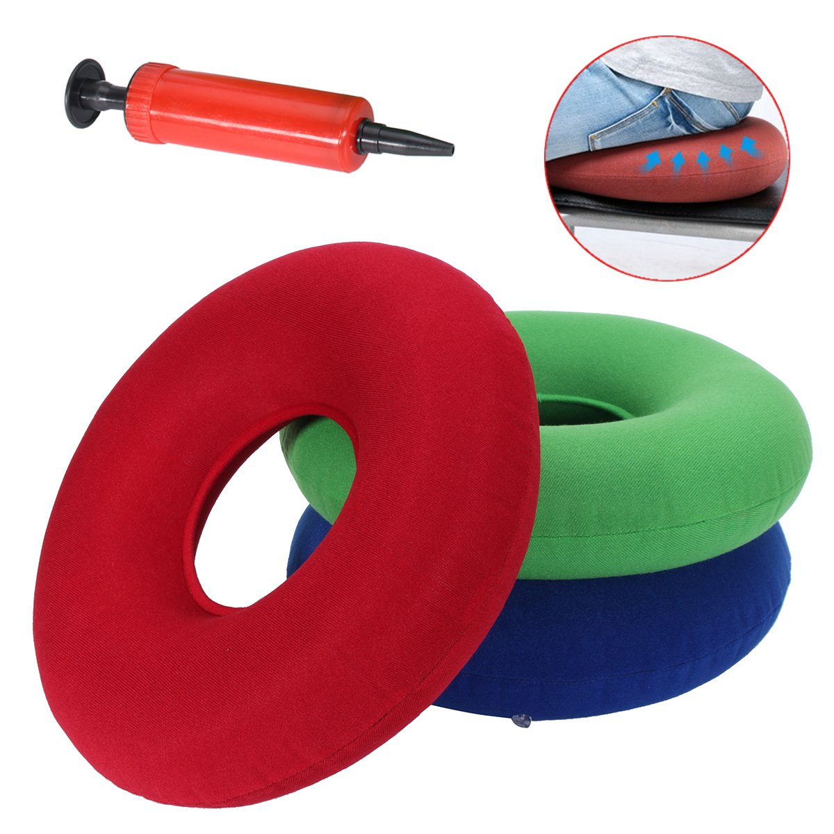 35cm Inflatable Ring Round Medical PVC Seat Cushion Sitting Donut Air Pillow Massage Mattress Pillow Anti Hemorrhoid + Pump