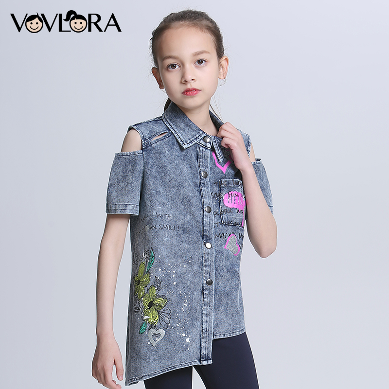 цена Off Shoulder Short Sleeve Jeans Girls Shirt Printed Flower Denim Kids Shirts Summer Children Clothes Size 7 8 9 10 11 12 Years