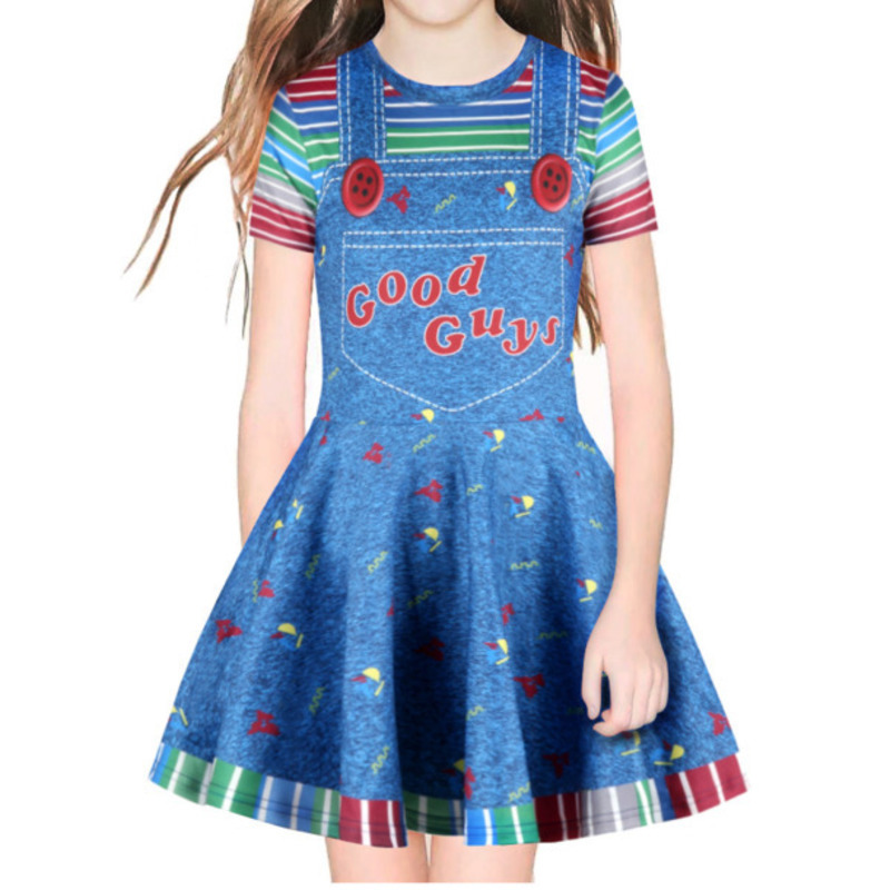 Halloween Cosplay Scary Costume For Kids Girls Children's Role Play Chucky Good Guys 3D Printed Cosplay Dress Fake 2 Pieces