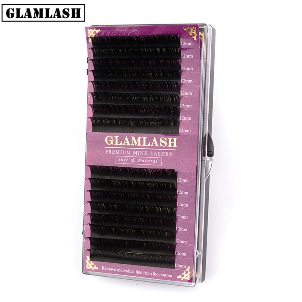 GLAMLASH 16Rows Premium Sable False Natural Matte Black Eyelash Extension Wholesale Eye Lashes Extension Cilia Makeup Cilios