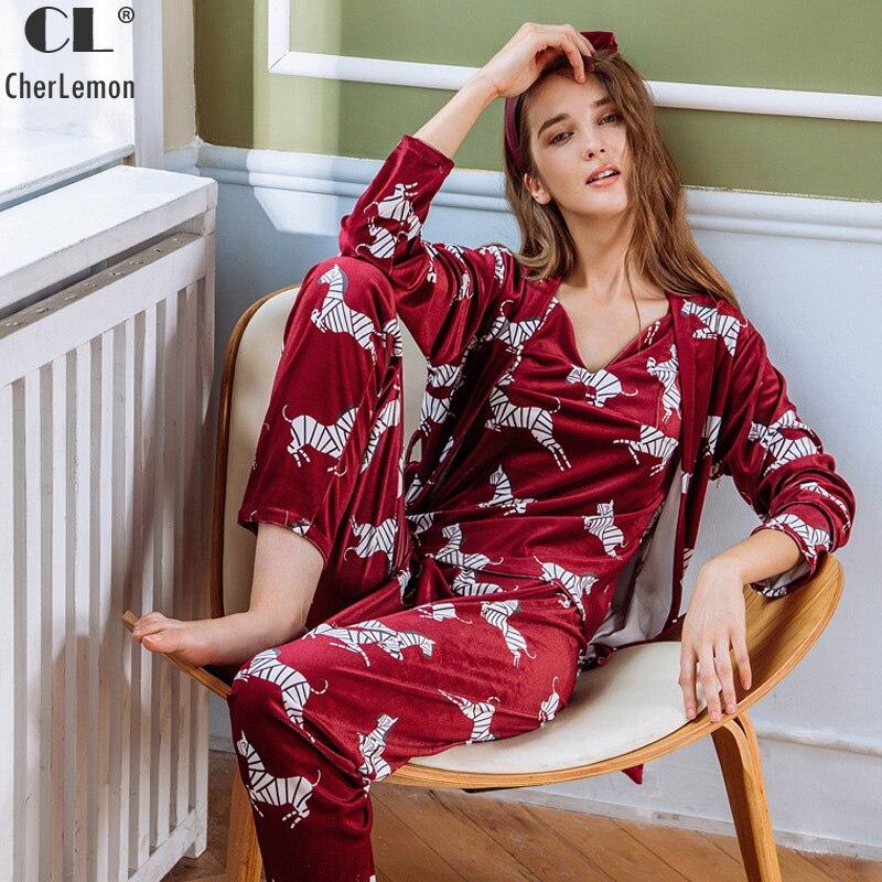 CherLemon femmes automne hiver velours pyjamas ensembles femme chaud 3 pièces Pijamas vêtements de nuit dessin animé Animal zèbre vêtement d'intérieur