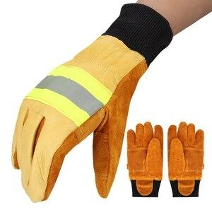 Image 3 - עבודה כפפות ריתוך כפפות אנטי קיטור בטיחות כפפות זוג של פרה עור כפפות חסין אש חום עמיד בטיחות כפפות עבודה