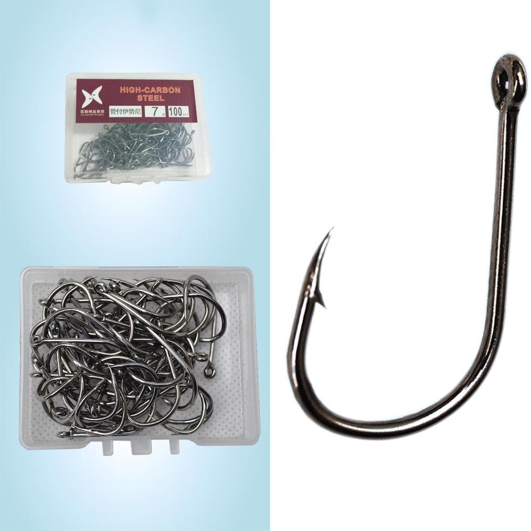 100Pcs//box Carbon Steel Fish Hook Carp Fishing Jig Head Set Fish Tackle Hook New