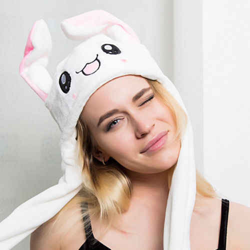4ce3e8bf4cc Detail Feedback Questions about 2019 Women Beanies Hat Rabbit Pinching Ear  Hats Can Move Plush Airbag Magnet Cap Cute Dance Toy Ladies Girls Cute  Casual ...