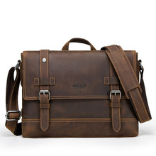 Vintage Crazy Horse Genuine Leather Bag lawyer Men's Briefcases Male Shoulder Laptop Bag for men document Totes bags man canvas with crazy horse luxury cowboy oil skin leather bags briefcases and male bag retro single shoulder bag messenger bag