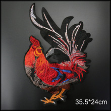 Красный петух ворона блестки аппликация большая вышивка петух большая нашивка в виде петуха для одежды куртка Пальто DIY швейная ткань