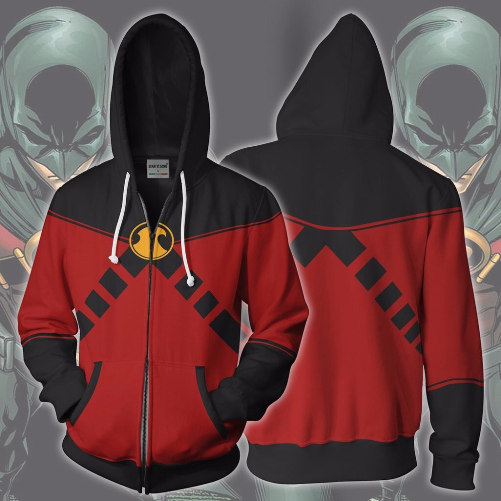 2019 New Hoodies Coat Hoodies Costume Legion Clothing Red Robin 3d Printed Zipper Hoodies Red Robin Tim Drake Zip Up Hoodie