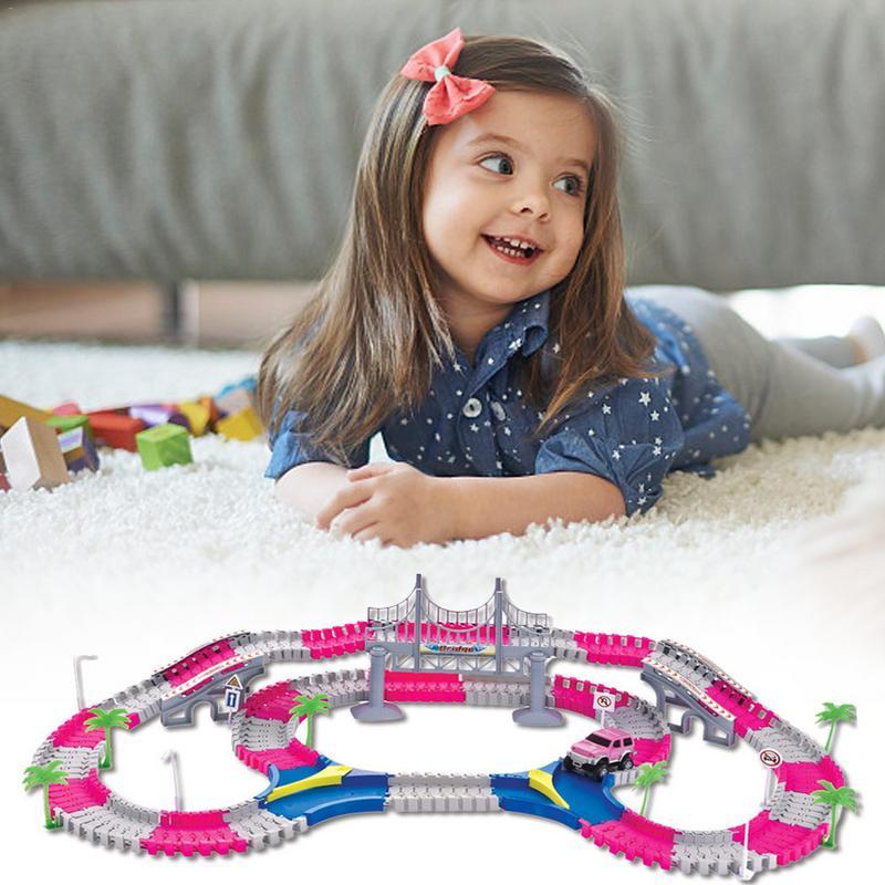 168 pcs Building Block Voiture Rail De Voiture Jouets pour Enfants 1:16 Moulé Sous Pression BRICOLAGE Puzzle Jouet Piste de Roller Coaster Assemblage Électronique