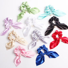 Retro Sweet Big Rabbit Ears Hair Ties For Girls Scrunchies Pearl Satin Solid Elastic Hair Bands Rings Hair Accessories For Gifts(China)
