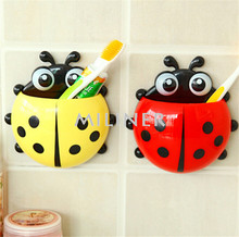 New Arrival Lovely Ladybug Cartoon Suction Bathroom Accessories Products Wall Mounted Toothbrush Holder Cup 1 Pcs