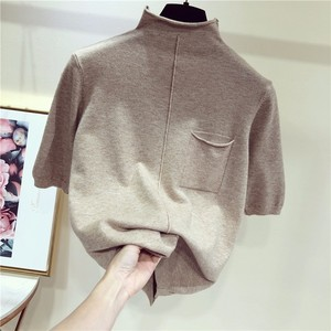 Image 4 - Half sleeve tops women knitted sweater half turtleneck short sleeve pullover 9colors 2020 spring and summer new arrival