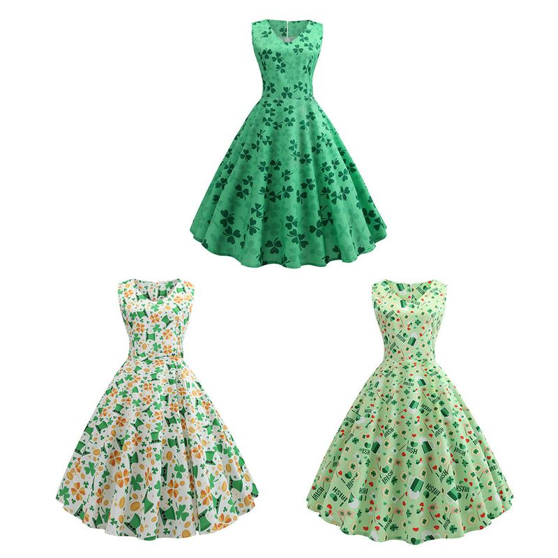 Vintage Sleeveless Belt Green Printed Dress Mini Retro Big Flare Vintage Clothes For St. Patrick's Day