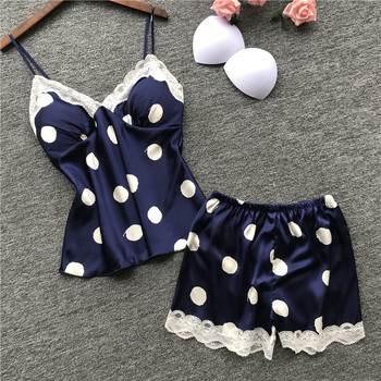2019 Women Pajamas Sets with Shorts Sexy Satin Flower Print Summer Pyjama Nightsuits for Chest Pad