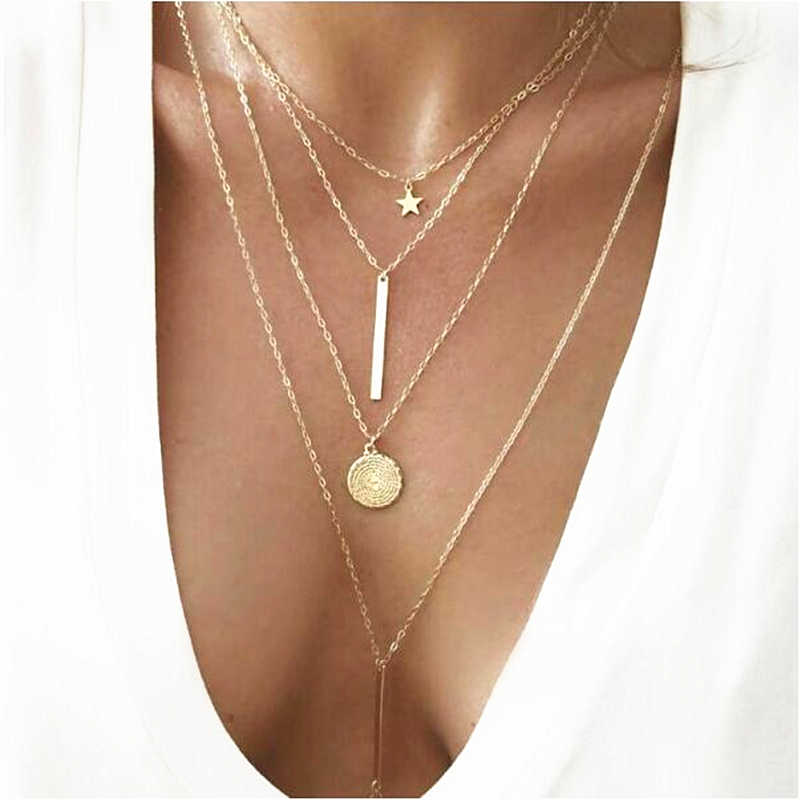2019 New Hot Fashion Long Statement Multi-element Bohemian Metal Rod Circle Star Multilayer Chokers Necklaces For Women Jewelry