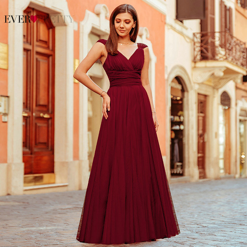 Pink Bridesmaid Dresses For Women Ever Pretty Elegant A Line Long Dress Wedding Party Formal Guest Robe Demoiselle D'honneur