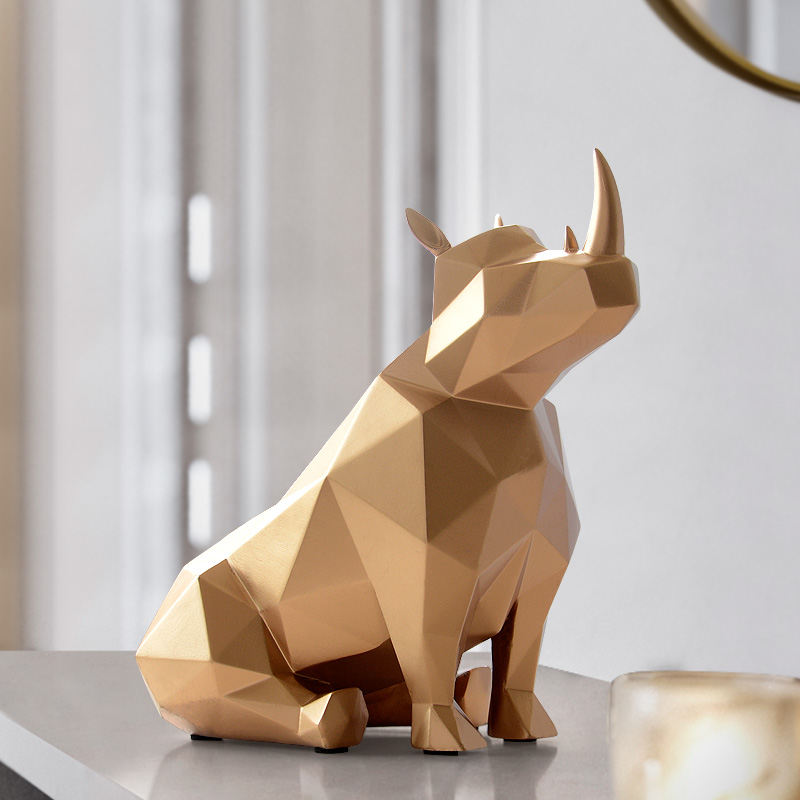 Vintage Chinese Japanese Rhino Rhinocero animal Resin Figurine