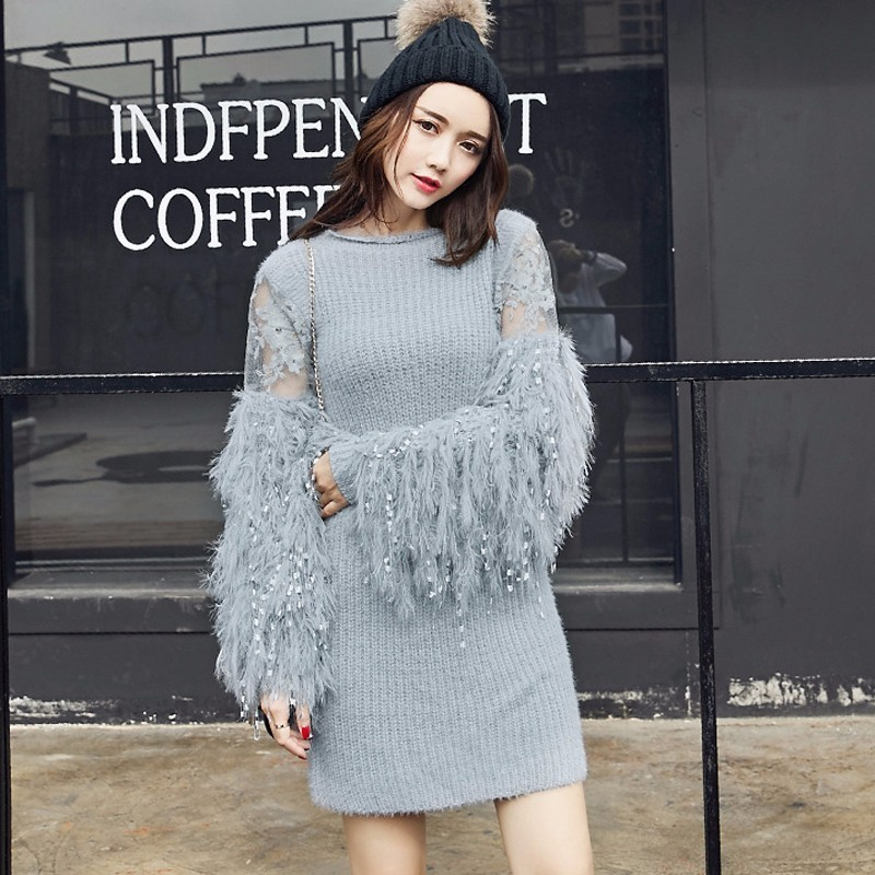 CHICEVER 2019 Autumn Knitting Female Sweater For Women Pullovers Lantern Sleeve Loose O neck Sweaters Jumper Clothes Fashion New