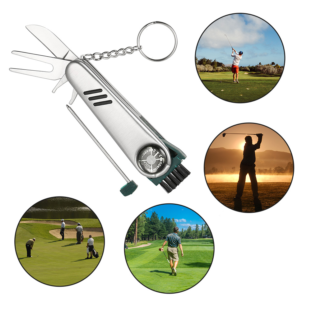 Golfer Tool Divot Repair Tool Ball Score Pen Scrub Cleaning Brush Club Cleaner All In One Stainless Steel Golf Tool