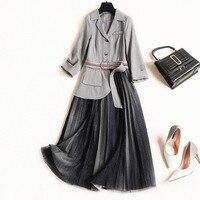 Элегантное фальшивое платье из двух частей женское весеннее 3/4 рукав зубчатый воротник пояс плиссированные платья сетка миди платье Jc2752