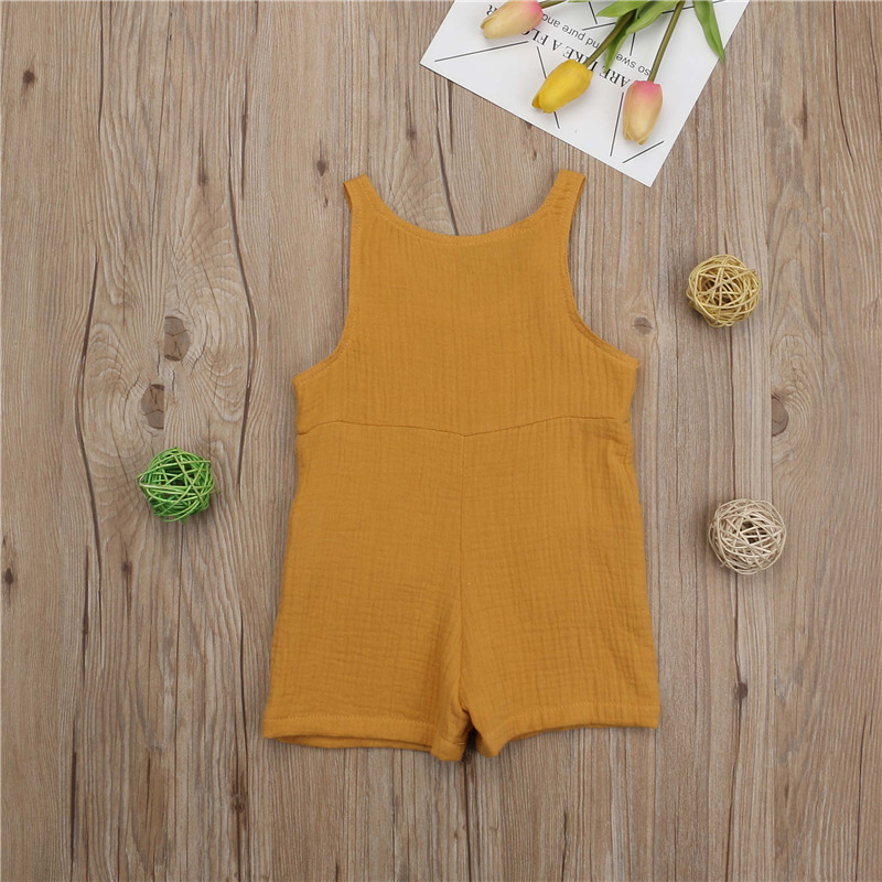 Casual Newborn Kids Baby Boys Girls Solid Cotton Linen Romper Jumpsuit Summer Sleeveless Clothes Outfits 0 3Y in Rompers from Mother Kids