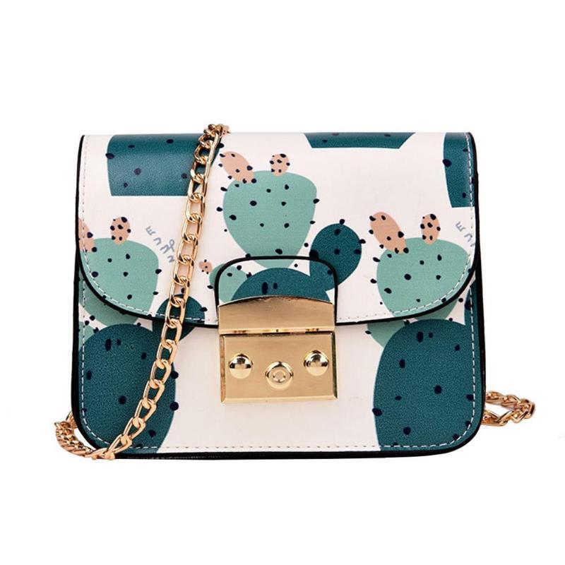 Women Messenger Bag Summer Fresh Lady Flower Printing Chain Shoulder Bag Cute Cactus Crossbody Bag For Teen Girls