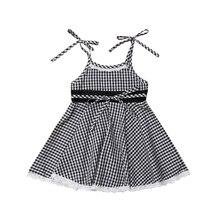 pudcoco  Newborn Kids Baby Girl Sleeveless Lace Plaid Princess Party Dress Sundress spring  autumn party dress baby girl