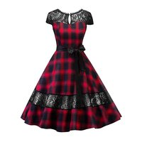 Plaid Lace Dress Women Summer Backless See Through Sexy Hollow Gothic Fashion Lace Up A Line Vintage Casual Ladies Party Dresses