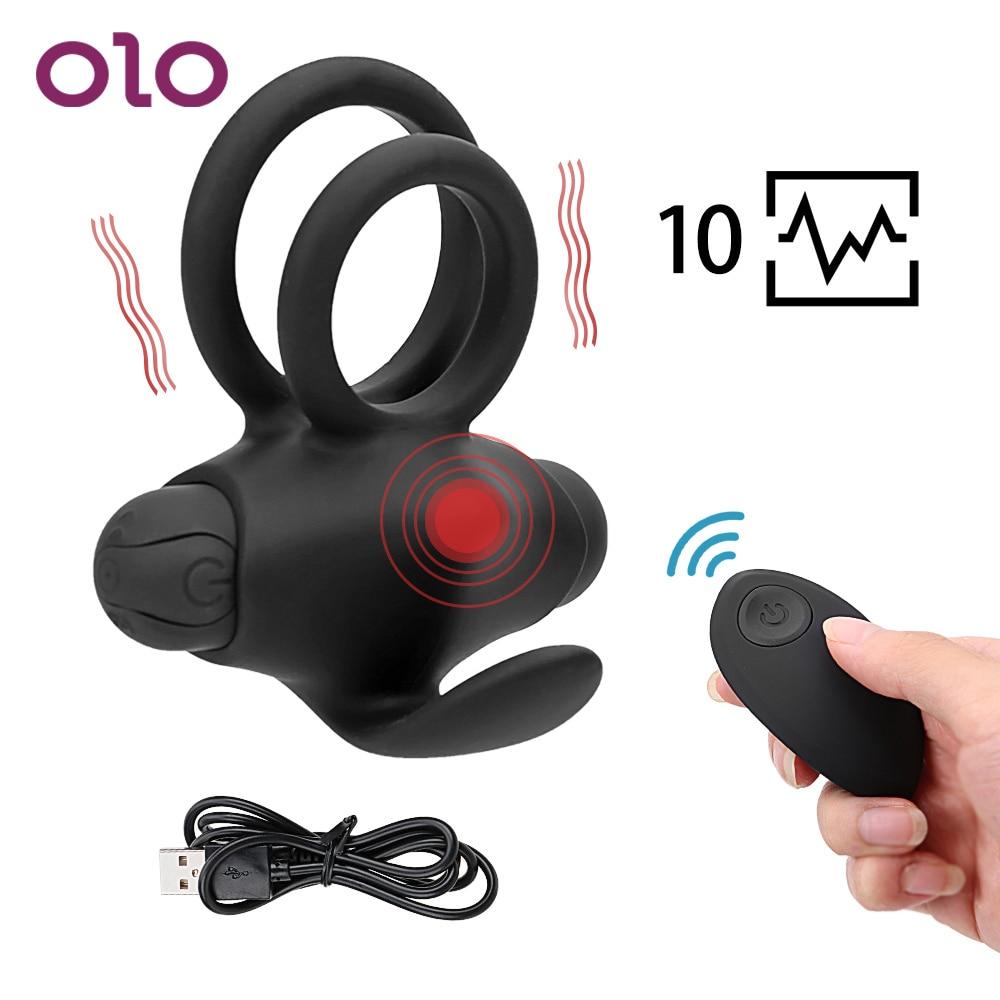 OLO Silicone Cock Rings Masculine Masturbation Penile Ring Vibrator Clitoral Stimulators For Male Couples Adult Sex Toys