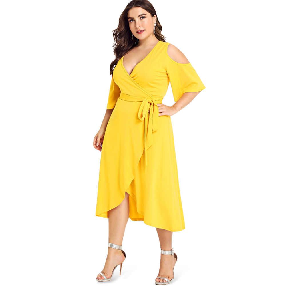 Платье с глубоким вырезом 3/4, рукав-колокол, с открытыми плечами, с поясом, асимметричное, одноцветное, женское платье большого размера, повседневное, до середины икры, Vestido 6XL