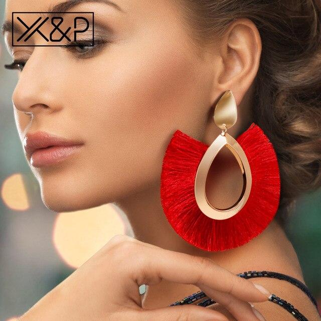 X & P Bohemian Lớn Tua Rua Bông Tai Giọt Cho cho Nữ Nữ Viền Thủ Công D'oreille Tuyên Bố Thời Trang Phụ Nữ Bông Tai 2018 bộ trang sức