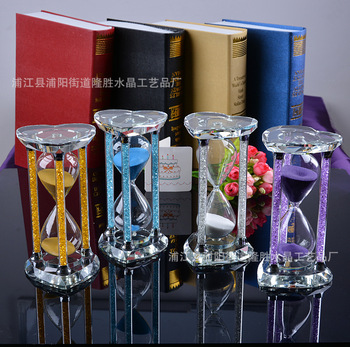 Heart-shaped Diamond Timers Hourglass Pillar Round Hourglass 30 Minutes Crystal Hourglass Timer Creative Gifts Home Decoration фото