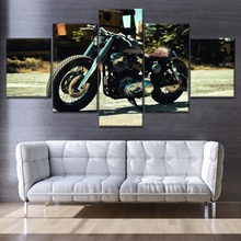 Modern On Canvas Printing Type And The Wall Decorative 5 Pieces Motorcycle Side View Shadow Painting For Living Room Poster