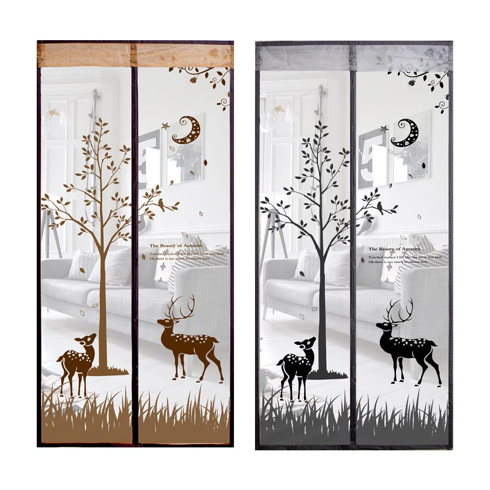 90X210cm Cute Elk Pattern Anti mosquito Mesh Curtains Magnetic Mosquito Net Mosquito Screen Fly Bug Anti Insect Coffee Gray