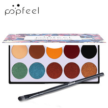 Popfeel 10 Color Eye Shadow + Eye Shadow Brush Eyeshadow Palette with Brush Set EP10 + Brush