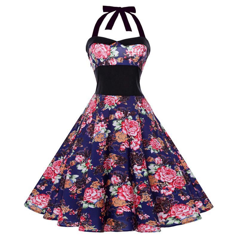 Fashion Strapless Backless Sexy Women Put On A Large Waist Dress Vintage Hanging Neck Type Leisur Color Body Floral Print Dress