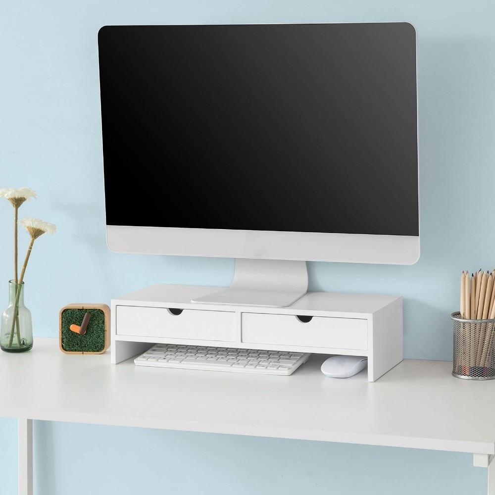 SoBuy BBF02, écran d'ordinateur moniteur support moniteur Riser organisateur de bureau 2 tiroirs