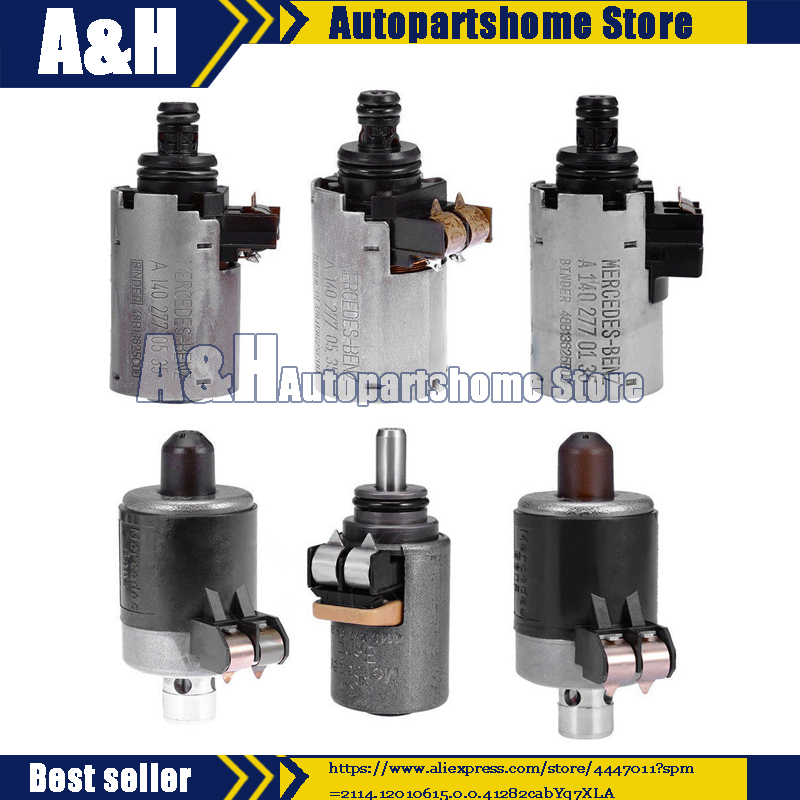 Remanufactured Set 6 Pcs 722.6 Solenoids Fit Mercedes Benz 5-SPEED Automatic Transmission
