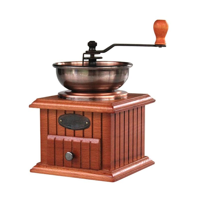 Classical Wooden Manual Coffee Grinder Stainless Steel Coffee Spice Mini Burr Mill With Ceramic Millston