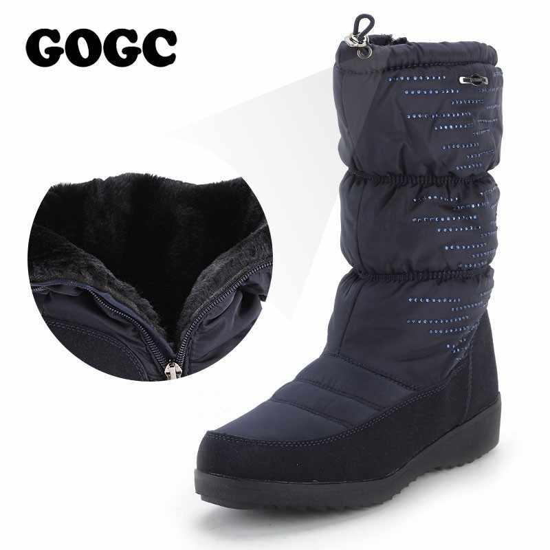1494273ae GOGC/2019 зимние сапоги, женские сапоги высокого качества со стразами, женские  зимние сапоги