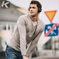 Autumn Men Sweater 100% Cotton Khaki Color Solid Pullovers For Man Fashion Slim Fit Clothes New Male Wear Knitting Tops 18218