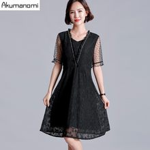 Summer Lace Dress Women 2019 Plus Size 5xl black Square Collar short sleeve a-line Dress Vestidos Card Pack Russia Free Shipping(China)