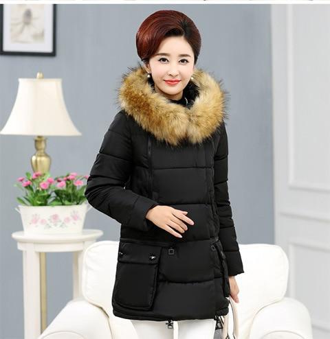 Coton Capuchon Automne Porter D'hiver Moyen red Mère Vêtements Femmes Black gray Et Nouvelles Long D'âge Veste De Mètres À 0n0FrAZ