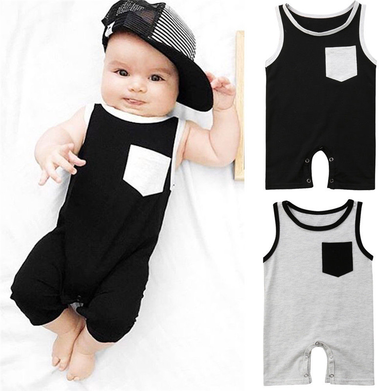 2019 Summer Brand Newborn Baby Girl Boy Pocket Sleeveless   Romper   Jumpsuit Outfits Clothes Spring Summer Clothing Gifts