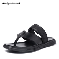 New Fashion Men Genuine Leather Flip Flops Sandals Hight Quality Nonslip Slides Casual Beach Shoes Trendy Man