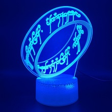 Unique 3d Optical Led Night Light Lamp The Lord of Rings Office Room Decorative Atmosphere Nightlight for Kids Child Bedroom