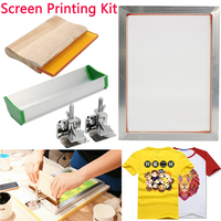 5Pcs/Set Screen Printing Kit Aluminum Frame + Hinge Clamp + Emulsion Scoop Coater + Squeegee Screen Printing Tool Parts 2018 New