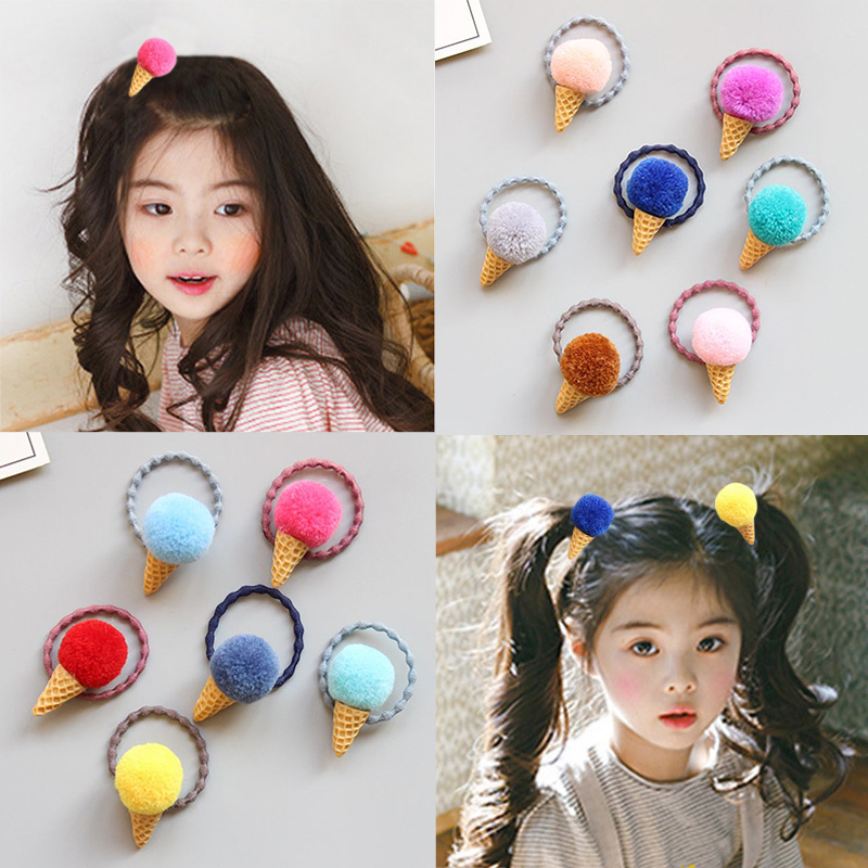 Faux Fur Pom Ponytail Holder For Girls Fluffy Candy Colors Cute Ice Cream Colors 1PC Kids Venonat Adjustable Hair Ties Elastic